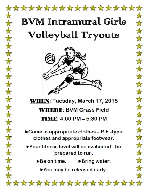 Volleyball Tryouts 2015
