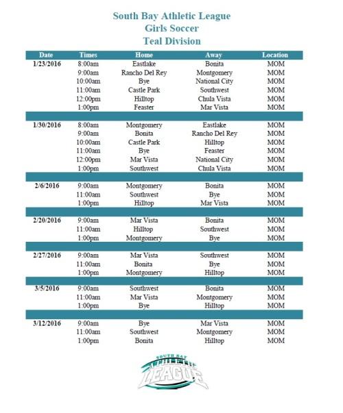 Girls Soccer Teal Schedule Image