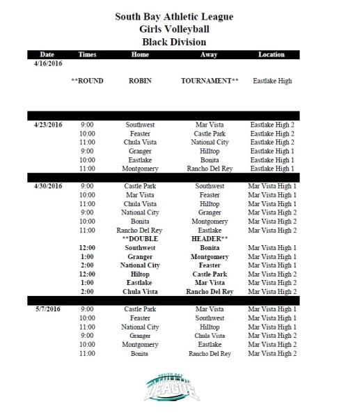 VBall 2016 Final Schedule